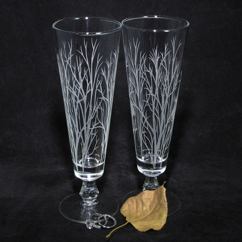 Winter Trees Branches Wedding Decor, Personalized Toasting Flutes, Etched Glass Gift for Couple - product images  of