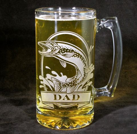 Personalized,Northern,Pike,Muskie,Beer,Stein,,Etched,Glass,Fish,Gift,for,Men,,Fisherman,/,Angler,Northern Pike, Fish, fisherman, angler, personalized gifts, Personalized Beer stein, beer mug,  Fish, etched glass, gift for groomsmen, groomsmen gift, beer glass