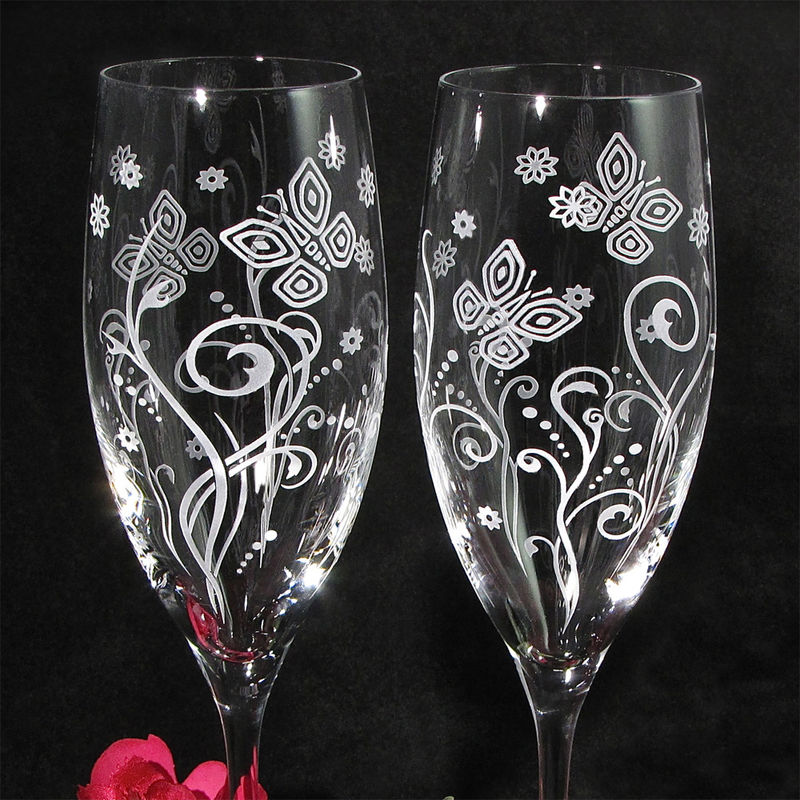 2 Modern Butterfly Champagne Glasses, Wedding Gift for Couple - product images  of