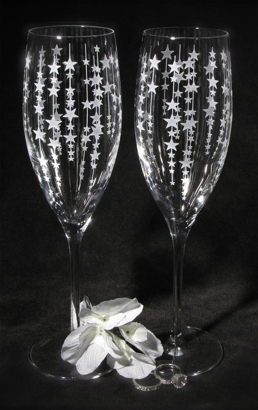 Falling Star Toasting Glasses, Champagne Flutes Gift for Bride and Groom - product images  of