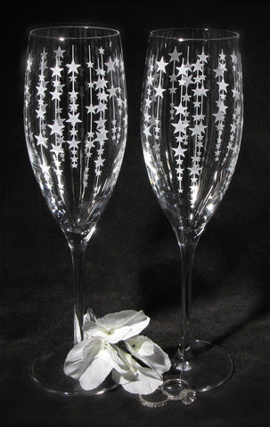 Falling,Star,Toasting,Glasses,,Champagne,Flutes,Gift,for,Bride,and,Groom,Falling Star, Toasting Glasses, Gift for bride and groom, The wedding gallery, bradgoodell, Brad Goodell,  champagne flutes,  champagne glasses, personalized champagne flutes, crystal champagne flutes, wedding toasting flutes, personalized, engraved champ