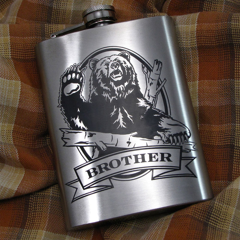 Personalized Grizzly Bear Hip Flask, Gift Idea for Man, Birthday Present for Men - product image