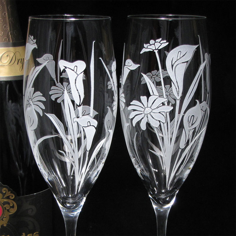 2 Calla Lily and Daisy Floral Wedding Champagne Flutes, Personalized Champagne Glasses - product images  of