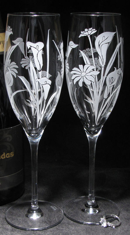 2 Calla Lily and Daisy Floral Wedding Champagne Flutes, Personalized Champagne Glasses, Fine Crystal - product images  of