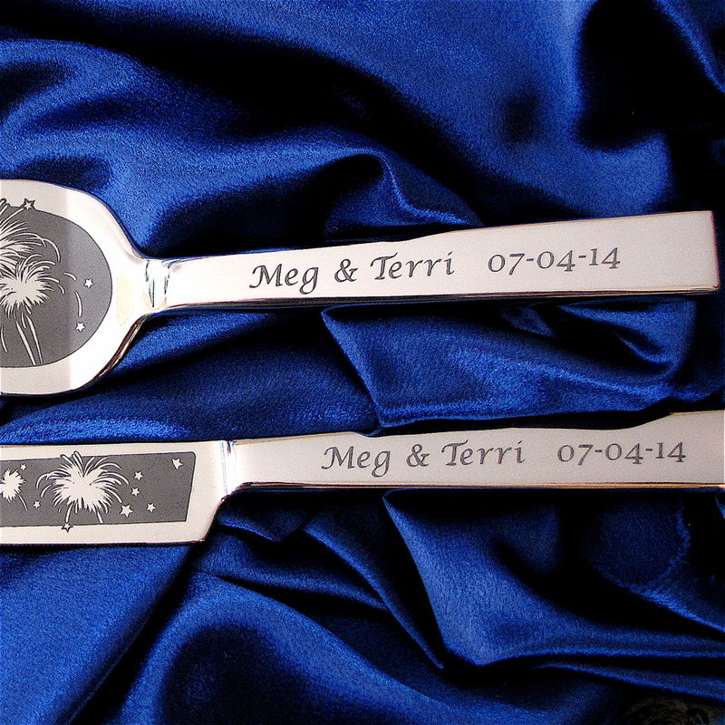 Personalized Falling Star Wedding Cake Server and Knife Set, Wedding Gift for Bride and Groom - product images  of