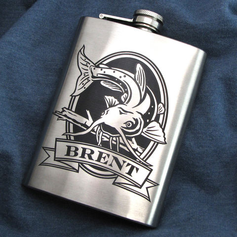 Personalized,Catfish,Hip,Flask,,Gift,for,Men,,Dad,,Husband,or,Boyfriend,Personalized Hip Flask with Catfish, angler, fisherman, fish, Engraved Gift for Man, Gift for Groomsman, gift for man, dad, fathers day