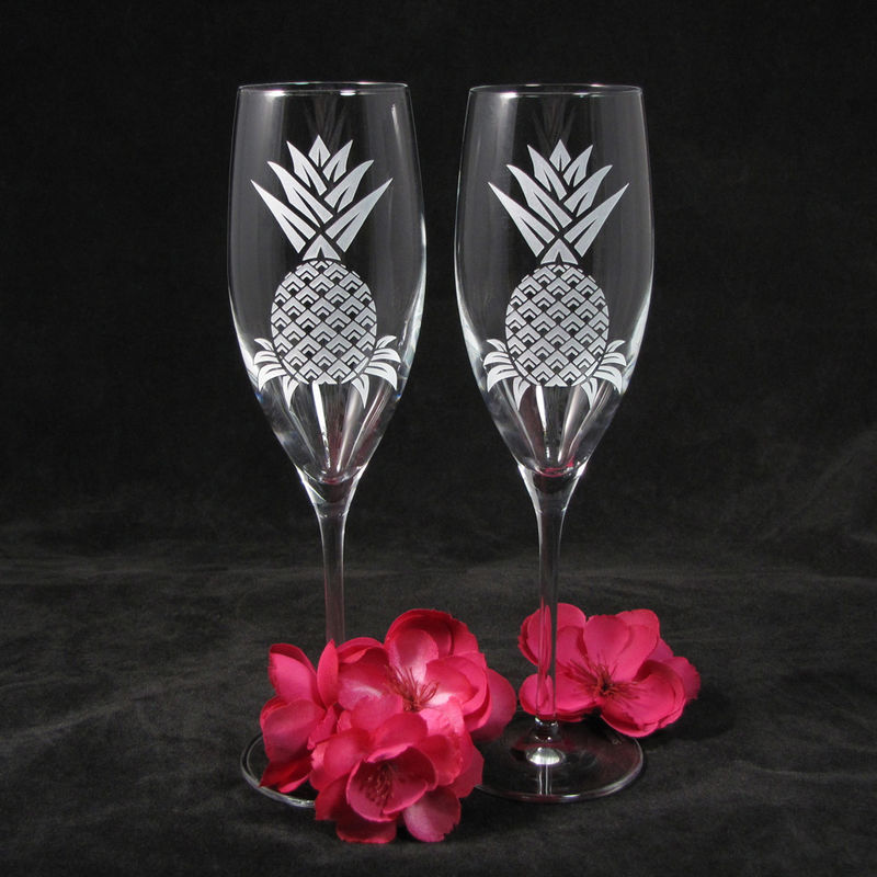 Personalized Pineapple Champagne Glasses, Hawaiian Wedding Gifts for Couple, Toasting Flutes for Bride and Groom - product images  of