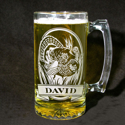 Personalized,Wild,Turkey,Beer,Stein,,Etched,Glass,Mug,,Groomsmen,Gifts,Wild turkey, bird hunter, personalized gifts, Personalized Beer stein, beer mug,  etched glass, gift for groomsmen, groomsmen gift, beer glass