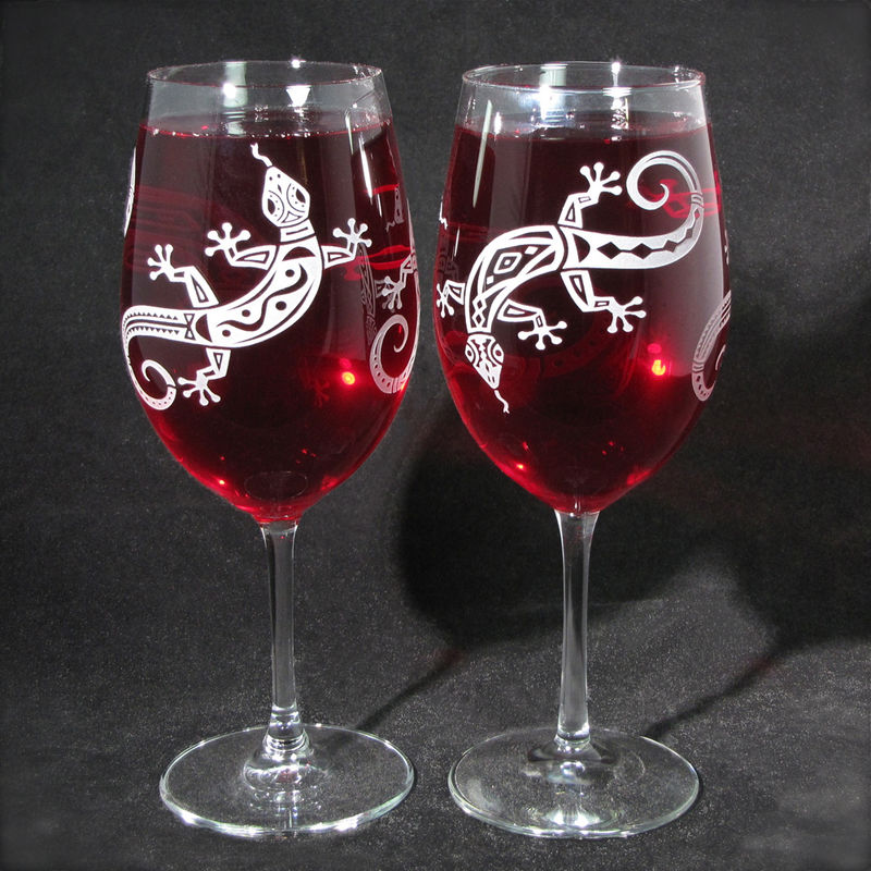 Lizard Wine Glasses, Gecko Personalized Gift, Desert Wedding - product images  of