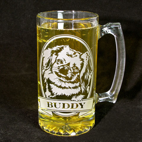 1,Personalized,Pekingese,Beer,Stein,,Etched,Glass,Stein,with,Dog, personalized gifts, Personalized Beer stein, beer mug, etched glass, gift for groomsmen, groomsmen gift, beer glass, boxer dog
