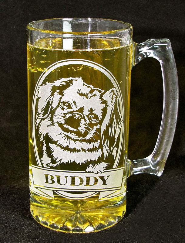 1 Personalized Pekingese Beer Stein, Etched Glass Beer Stein with Dog - product image