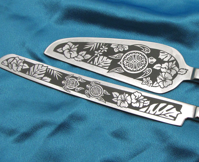 Sea Turtle Cake Server and Knife Set, Personalized Beach Wedding Decor - product images  of
