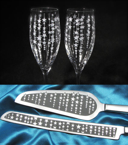 Falling,Stars,Wedding,Cake,Server,Set,and,Champagne,Flutes,,Twinkling,Decor,wedding knife and flute set, Personalized, Wedding Cake Server,  Champagne Flutes, Twinkling falling star