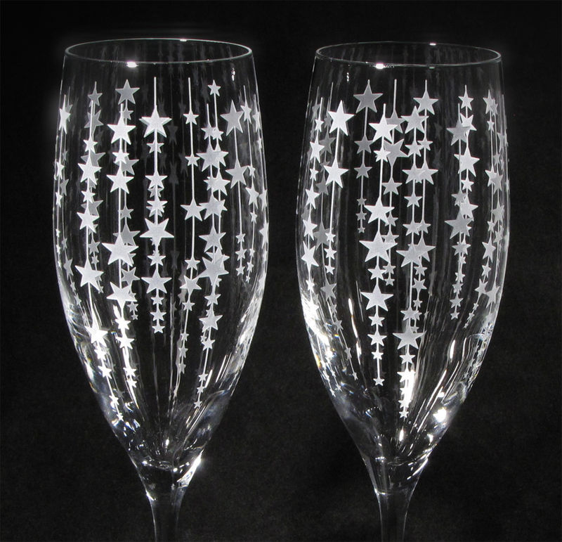 Falling Stars Wedding Cake Server Set and Champagne Flutes, Twinkling Stars Wedding Decor  - product images  of