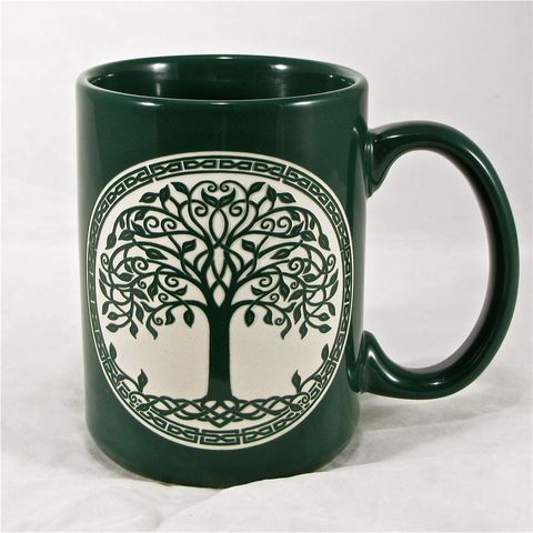 Green,Celtic,Tree,of,Life,Coffee,Cup,,Saint,Patrick's,Day,Gift,for,Irish,,Personalization,available,Green Celtic Tree of Life Coffee Cup, Saint Patrick's Day Gift for Irish, Personalization available
