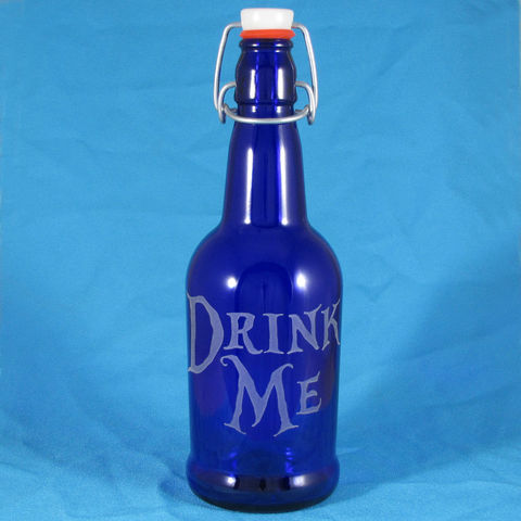 Blue,Glass,Drink,Me,Water,Bottle,,Etched,Reusable,Beer,Alice,in,Wonderland,Blue Glass, Drink Me Water Bottle, Etched Glass Reusable Beer Bottle, Alice in Wonderland