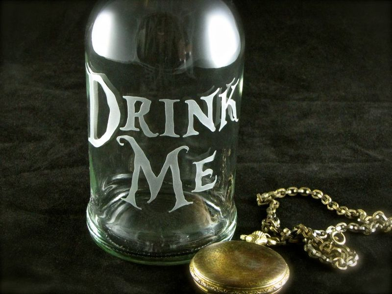 Blue Glass Drink Me Water Bottle, Etched Glass Reusable Beer Bottle, Alice in Wonderland - product images  of