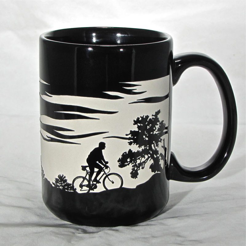 Cyclist Coffee Cup - Engraved Gift for Mountain Biker, 15 ozs, Black Bicycle Coffee Mug - product images  of