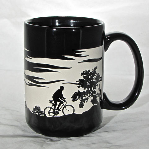 Cyclist,Coffee,Cup,-,Engraved,Gift,for,Mountain,Biker,,15,ozs,,Black,Bicycle,Mug,Cyclist Coffee Cup - Engraved Gift for Mountain Biker, 15 ozs, Black Bicycle Coffee Mug