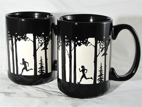 Gift,for,Couples,-,2,Trail,Runner,Coffee,Mugs,,X-country,running,Gift for Couples - 2 Personalized Trail Runner Coffee Mugs Coffee Mug, cross country running, x-country, trail runner