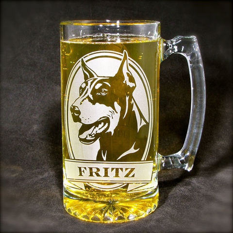 1,Personalized,Doberman,Pinscher,Beer,Stein,,Etched,Glass,Mug,with,Dog,personalized gifts, Personalized Beer stein, beer mug, etched glass, gift for groomsmen, groomsmen gift, beer glass, doberman pinscher