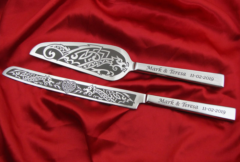 Dragon Wedding Cake Server and Knife Set, Personalized Celtic or Viking Theme for Norse Wedding - product images  of