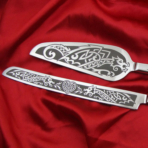Dragon,Wedding,Cake,Server,and,Knife,Set,,Personalized,Celtic,or,Viking,Theme,for,Norse,Dragon Wedding Cake Server and Knife Set, Personalized Celtic or Viking Theme for Norse Wedding