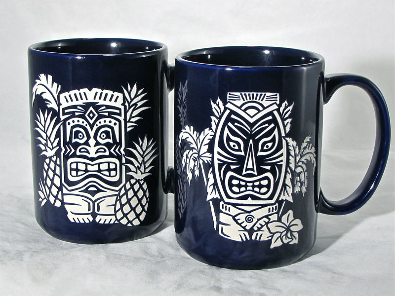 Blue Tiki Coffee Mug - Coffee Tea Cup with Hawaiian Tiki, Engraved Gift / Birthday Present - product images  of