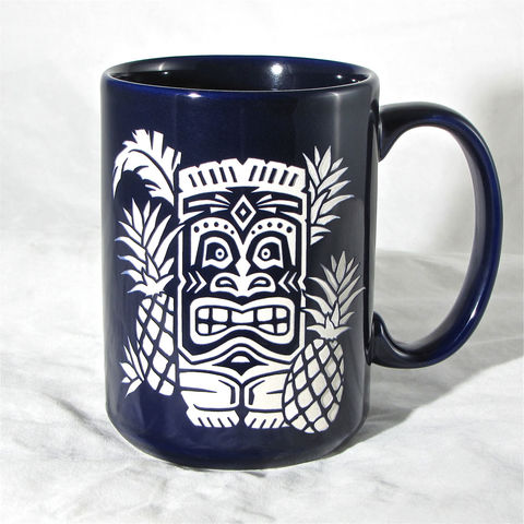 Blue,Tiki,Coffee,Mug,-,Tea,Cup,with,Hawaiian,Pineapples,,Engraved,Gift,/,Birthday,Present,Housewares,Engraved_Gift,Personalized,Birthday_Gift,brad_goodell,Birthday_Present,Coffee_Cup,Tea_Mug,Gift_for_Man,Red_Tiki_Coffee_Mug,Coffee_Tea_Cup,hawaiian_tiki,hawaii,gift_for_woman,Ceramic