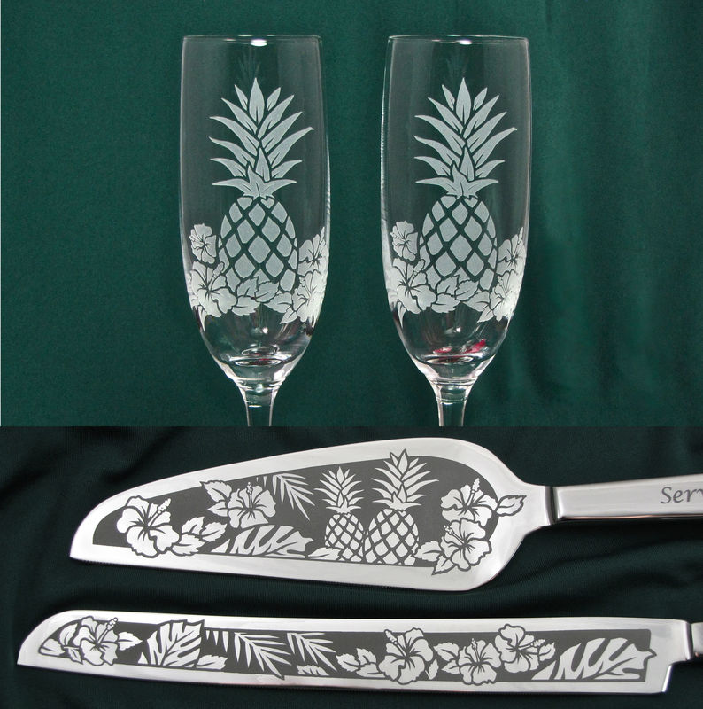 Pineapple Wedding Cake Server Set and Champagne Flutes, Wedding in Hawaii, Wedding Decor  - product image