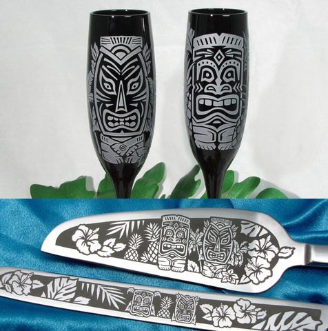 Personalized,Tiki,Wedding,Set,,Champagne,Flutes,and,Cake,Server,Knife,Tropical,Getaway,personalized bespoke tiki wedding set, Hawaiian, Hawaii, tropical getaway, beach wedding, toasting glasses, champagne flutes, wedding cake server set