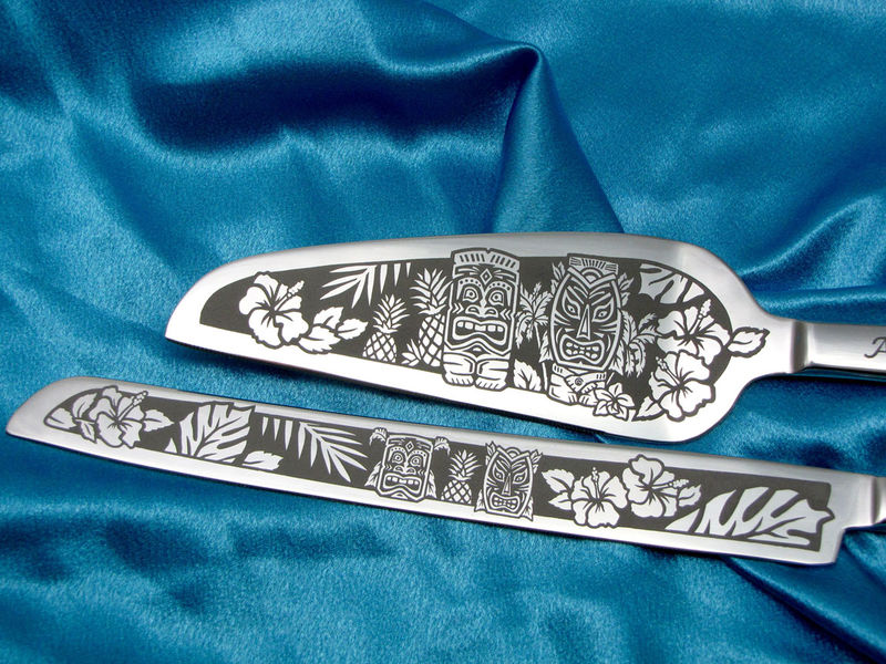 Personalized Tiki Wedding Set, Champagne Flutes and Cake Server and Knife Tropical Getaway - product image