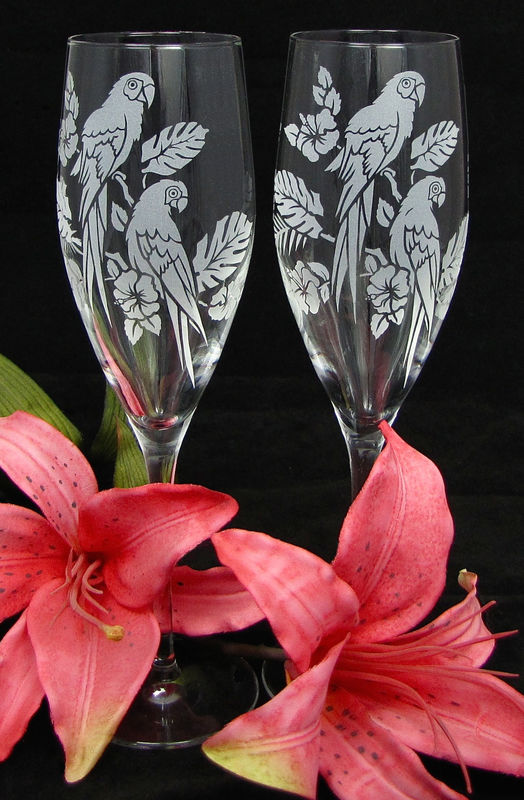 2 Bespoke Wedding Champagne Flutes with Macaws, Tropical Birds Toasting Glasses - product image