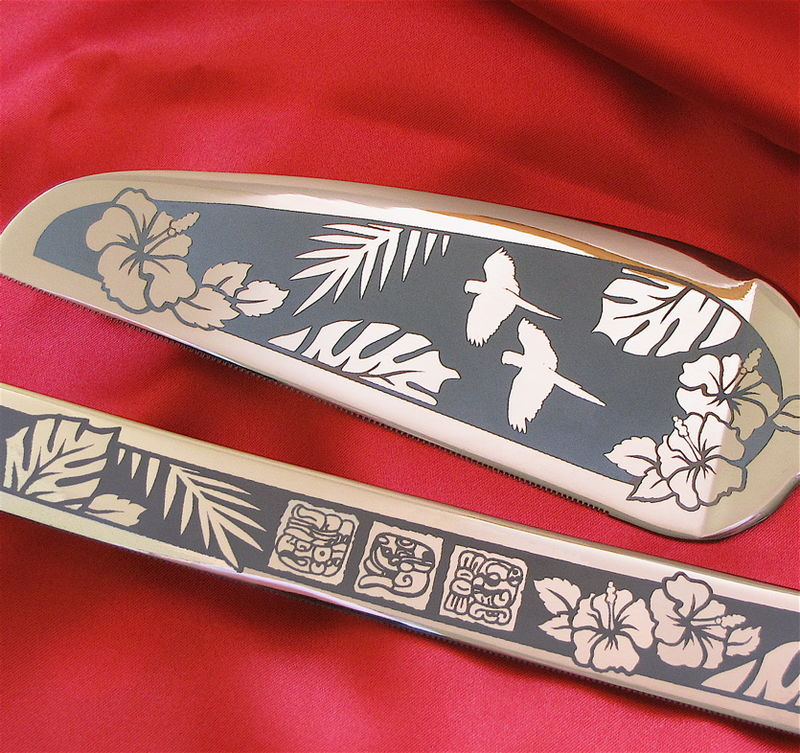 Tropical Wedding Cake Server and Knife Set with Macaws and Hibiscus, Mexico Destination Wedding - product image