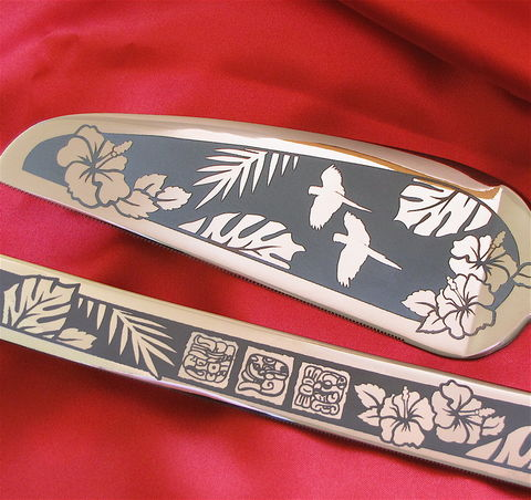 Tropical,Wedding,Cake,Server,and,Knife,Set,with,Macaws,Hibiscus,,Mexico,Destination,Bespoke, Personalized, Tropical Wedding Cake Server and Knife Set with Macaws and Hibiscus, Mexico Destination Wedding