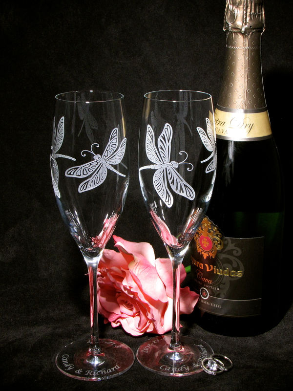 2 Personalized Dragonfly Champagne Flutes, Wedding Gift for Bride and Groom - product images  of