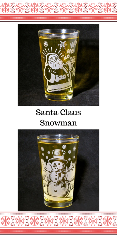 1 Santa Glass with Etched Glass Tumbler, Christmas Gift, can be personalized - product images  of