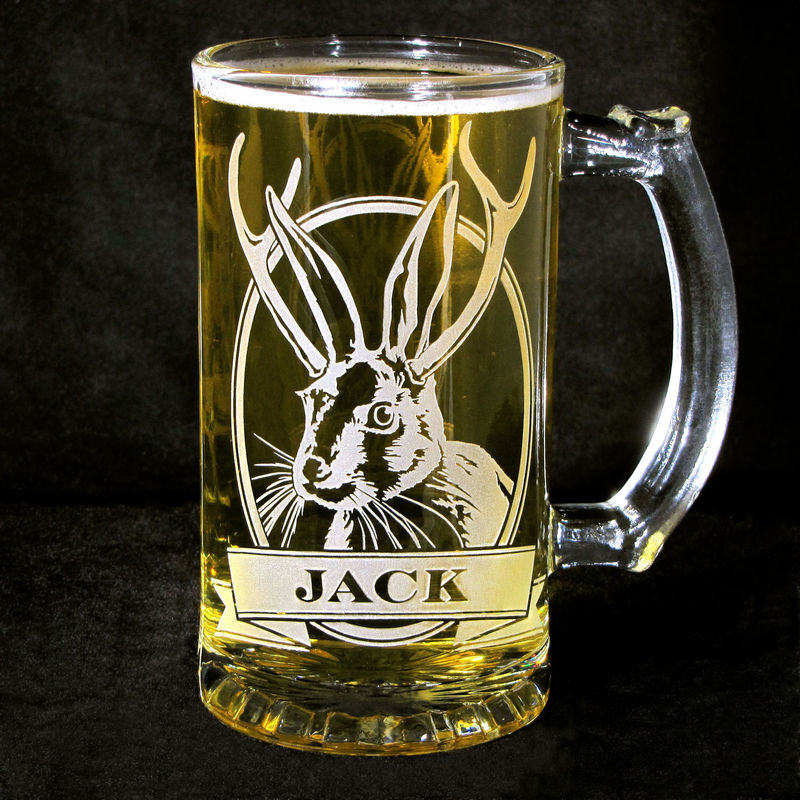 1 Personalized Jackalope Beer Stein, Etched Glass Beer Mug  - product image