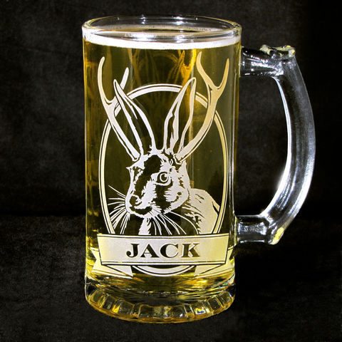 1,Personalized,Jackalope,Beer,Stein,,Etched,Glass,Mug, personalized gifts, Personalized Beer stein, beer mug, etched glass, gift for groomsmen, groomsmen gift, beer glass