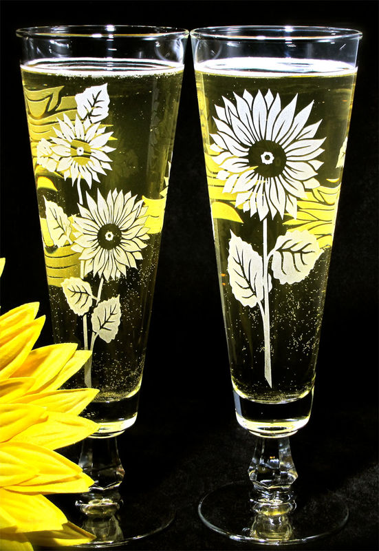 2 Sunflower Pilsner Flutes, Wedding Decor, Personalized Toasting Glasses, Etched Glass  - product image