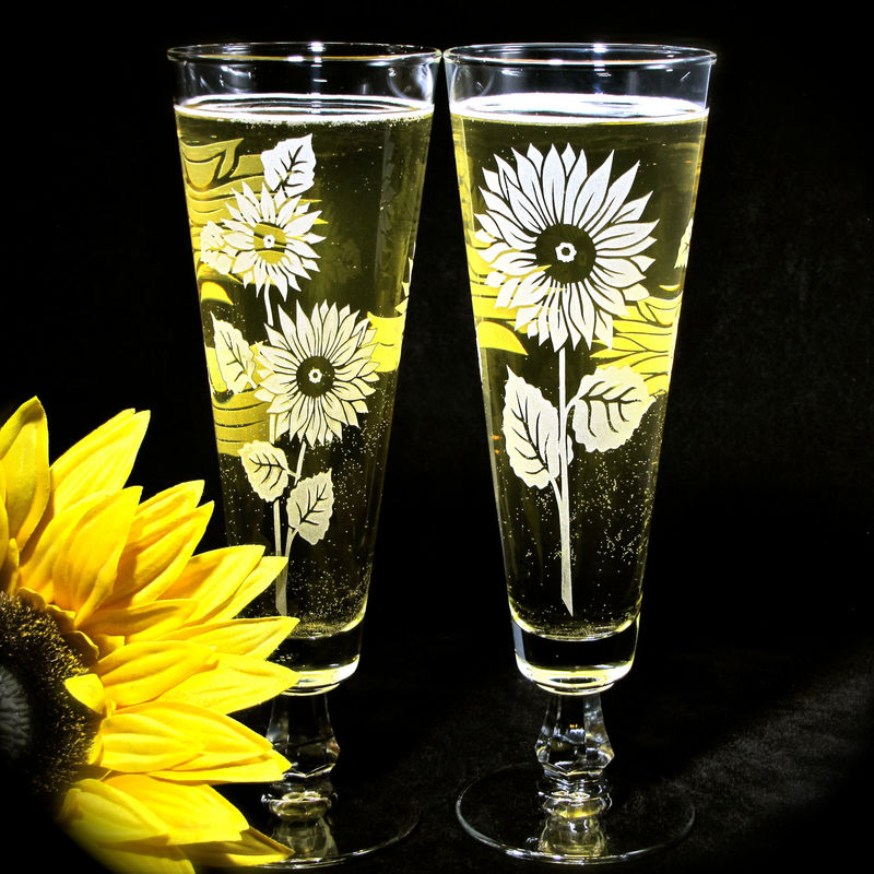 2 Sunflower Pilsner Flutes, Wedding Decor, Personalized Toasting Glasses, Etched Glass  - product images  of