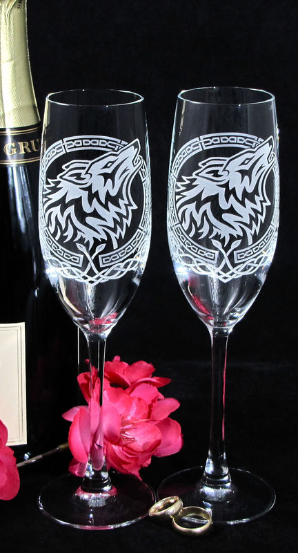 Celtic Wolf Champagne Glasses, Viking or Nordic Wedding Flutes - product image