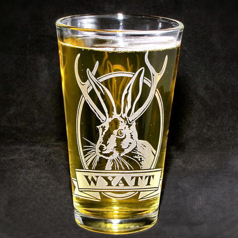 1,Personalized,Jackalope,with,Etched,Glass,Pint,Glass,,Christmas,Gift,Beer,jackalope, Christmas Gift, Boxing Day, beer glass, personalized, pint glass, etched glass, engraved gift, gift for man, gift for husband, boyfriend, father, dad