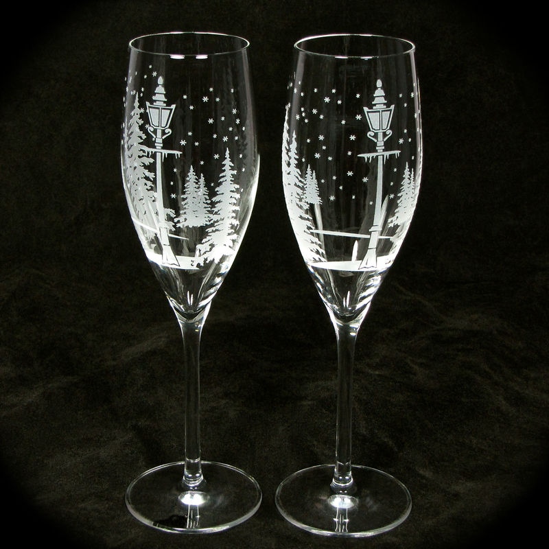 Winter Wedding Champagne Flutes, Personalized Wedding Gift for Couple - product image