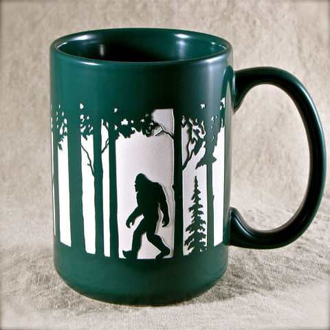 Bigfoot,Coffee,Cup,-,Engraved,Gift,with,Yeti,,Sasquatch,,Abominable,Snowman,Mug,Bigfoot Coffee Cup, Engraved Gift with Yeti, Sasquatch, Abominable Snowman Coffee Mug, blue black green