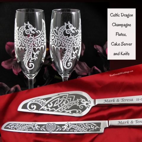 Personalized,Celtic,Dragon,Wedding,Set,,Champagne,Flutes,and,Cake,Server,Knife,Celtic Dragon, viking, nordic, welsh, irish, scottish,personalized bespoke,  toasting glasses, champagne flutes, wedding cake server set