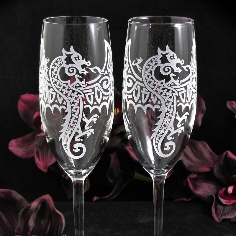Personalized Celtic Dragon Wedding Set, Champagne Flutes and Cake Server and Knife  - product image