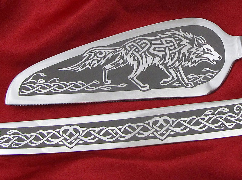 Personalized Celtic Wolf Wedding Set, Champagne Flutes and Cake Server and Knife  - product image