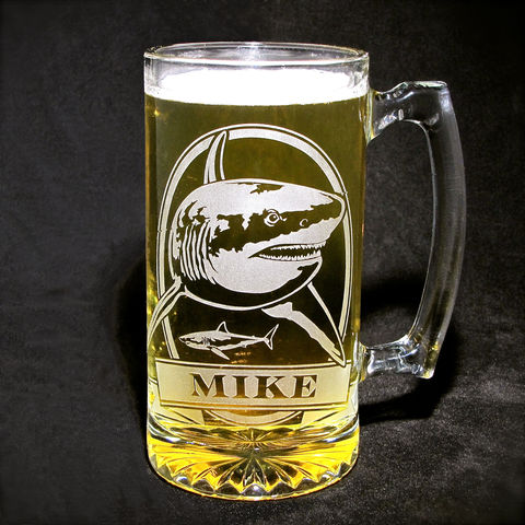1,Personalized,Shark,Beer,Mug,,Etched,Glass,Great,White, great white shark, personalized gifts, Personalized Beer stein, beer mug, fish, smallmouth bass, etched glass, gift for groomsmen, groomsmen gift, beer glass