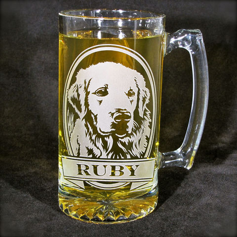 1,Personalized,Golden,Retriever,Beer,Mug,,Etched,Glass,Stein,for,Dog,Lovers,Golden Retriever, Pit Bull, Labrador Retriever, Boxer, Doberman Pincher, personalized gifts, Personalized Beer stein, beer mug, etched glass, gift for groomsmen, groomsmen gift, beer glass, boxer dog